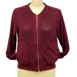 Alythea Bomber Jacket Perforated Faux Suede Maroon